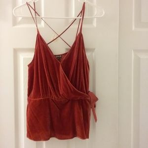 Express red velvet spaghetti strap top